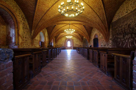 Interior of main hall of Trakai castle in Lithuania Editorial