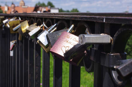 Love locks on the fence selective focus