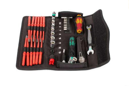 Professional tool set isolated on the white background Stock Photo