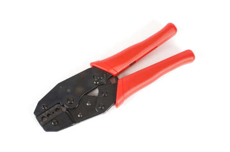 Coaxial cable crimping tool isolated on the white background Banco de Imagens - 86051069