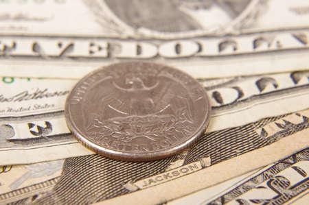 Quarter dollar close up