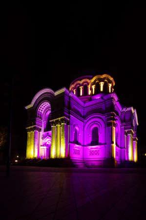 sobor: Church Soboras in Kaunas Lithuania during light show Stock Photo