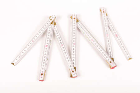 Carpenter's ruler isolated on the white background Banque d'images