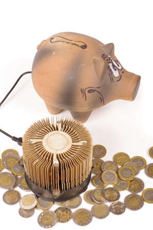 Piggy bank and the Bitcoin miner and coins as a concept of earnings Stock Photo