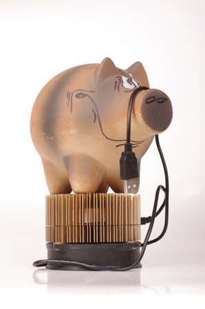 Piggy bank on the bitcoin miner cryptocurrency mining concept