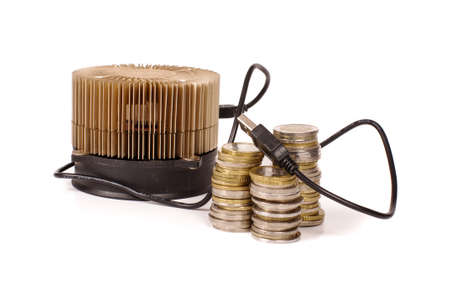Cryptocurrency miner and coins as a profit of mining Stock Photo
