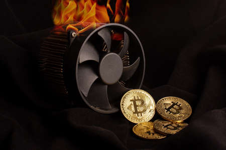 Bitcoin mining produce heat that is shown as a fire flames