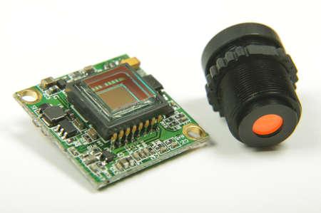 Analog signal camera sensor close up of drone first player view camera
