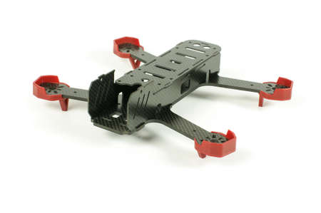 Beginning of racing drone assembly. Durable frame of drone made from carbon fiber