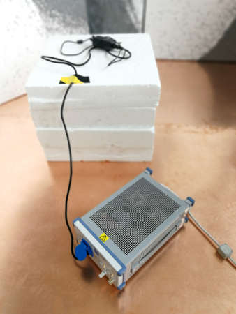 Line impedance stabilization network for electromagnetic compatibility tests Stock Photo