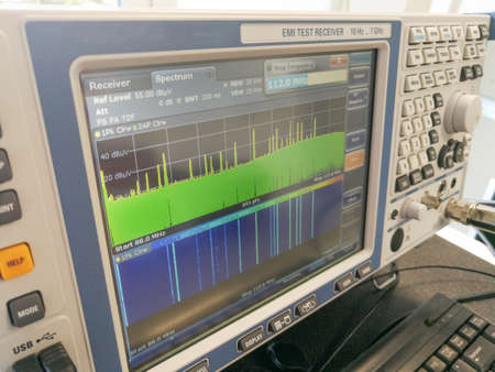 Radio frequency spectrum during electromagnetic compatibility emissions scan