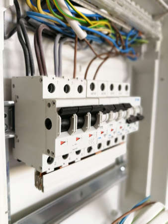 Electric safety switches and wiring inside electrical panel