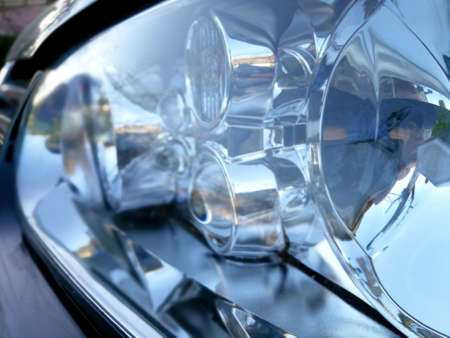 Close up of car headlamps with plastic optical lenses and reflectors Reklamní fotografie