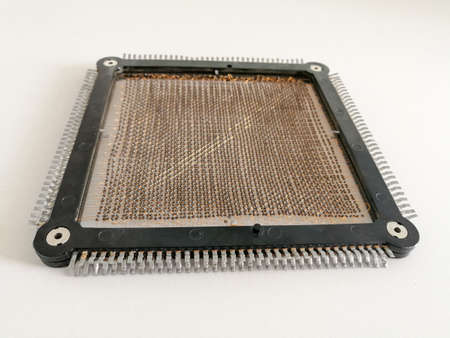 Many ferrites assembled in matrix configuration in magnetic core memory Stock Photo