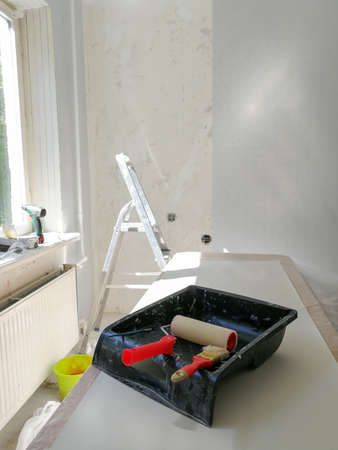 Flat renovation gluing wallpaper tools and equipment Reklamní fotografie