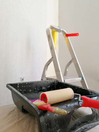 Flat renovation gluing wallpaper tools and equipment Reklamní fotografie