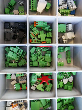 Many electronic components electrical connectors in the tray