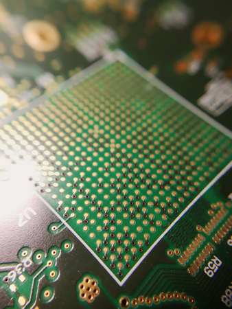 Macro close up of BGA ball grid array technology footprint on electronic printed circuit borad Stock Photo