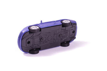 Die cast model vehicle scaled representation of real car isolated on the white background