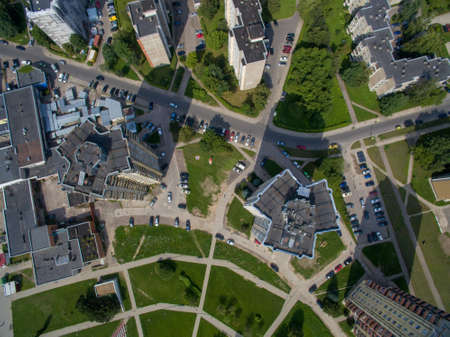 Aerial drone view of multistory apartments close to cecenija square in Kaunas, Lithuania