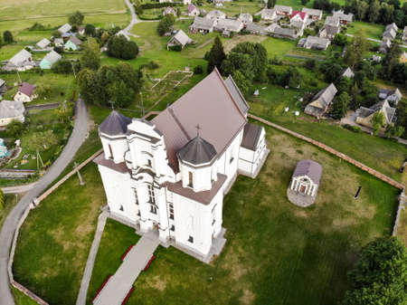 Kraziai church of st Mary of immaculate conception aerial photography from drone in Kraziai, Lithuania 스톡 콘텐츠