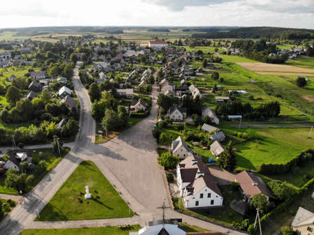 Aerial photography from drone of historical Kraziai town in Lithuania