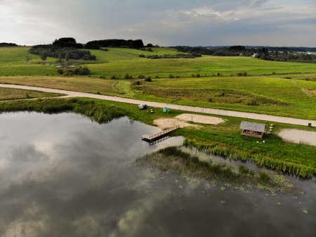 Aerial view of lake beach in beautiful nature near Kraziai town, Lithuania