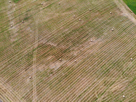 Aerial view of hay bales in the farmfield during autumn close to Kraziai town, Lithuania