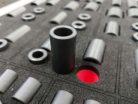 Electromagnetic compatibility ferrites for cable for automotive industry applications 스톡 콘텐츠