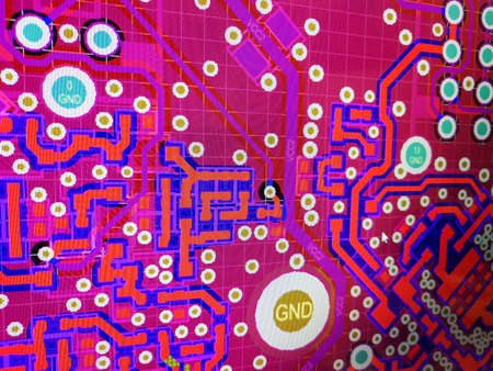 Close up computer screen view of PCB design layout routing process in specialised software
