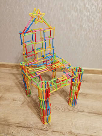 Creative design chair construct from plastic toy constructor