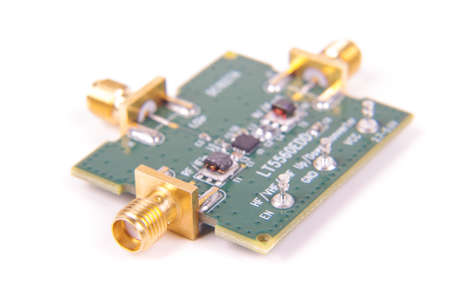 Radio Frequency microwave mixer evaluation Printed circuit board isolated on the white background