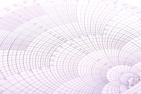 Abstract close up of Smith chart specialized tool for microwave and RF engineering