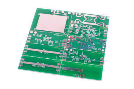 Various panelised radio frequency printed circuit boards PCBs isolated on the white background Stock Photo