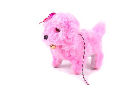 Juguete para mascotas perro rosa aislado en el fondo blanco.