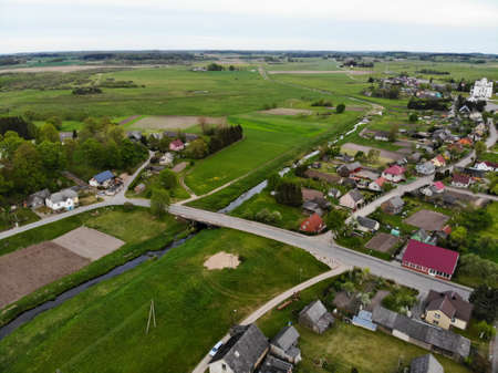 Aerial view of small town Kraziai landscape in Samogetia (Zemaitija), Lithuania