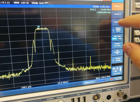 Radio frequency data transmission channel spectrum analysis in professional spectrum analyzer LCD screen