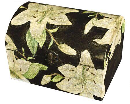 decoupage: jewelry box decorated with decoupage. Stock Photo