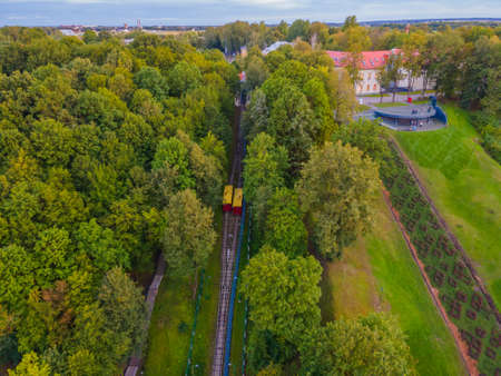 Aleksotas Funicular is a funicular railway located in Aleksotas elderate of Kaunas, Lithuania. The funicular constructed on the right bank of the Nemunas River was officially opened on 6 December 1935