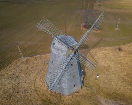 Aerial photo of an ancient windmill in Lithuania. In these historic buildings they contained flour for the manufacture of bread. Only few are left in Lithuania