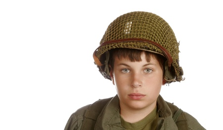 Young boy dressed-up as a soldier.  Stock Photo