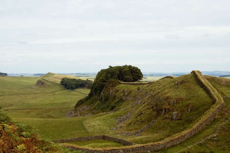 hadrian: Hadrians wall built by the legionaries of the Roman Emperor Hadrian separating England and Scotland Stock Photo