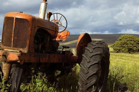 rural area: old farm tractor in rural area