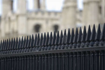 old english: old English monumental iron fence in Cambridge Stock Photo