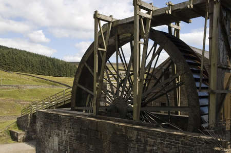 watermill: Old fashioned wooden watermill in action