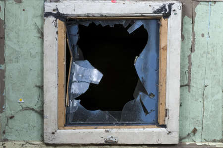 splinter: view  through broken glass in door Stock Photo