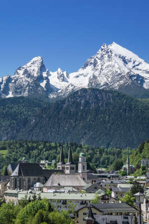 Berchtesgaden in Bavaria with the second highest mountain in Germany, the watzmann. Stock Photo