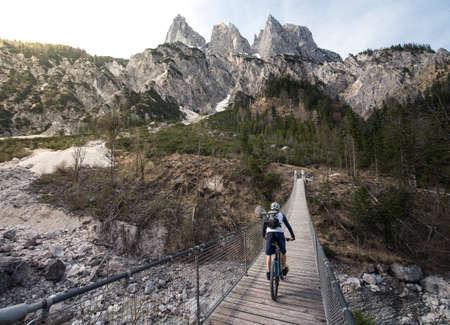 Mountain biking in the Alps Stock Photo