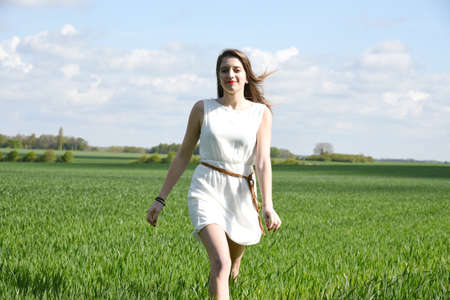 young woman in fields