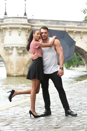 young couple in love in paris